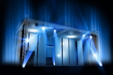 laser show: The Stage. Cool 3D Music Stage Visualization. Stage Illumination Illustration.