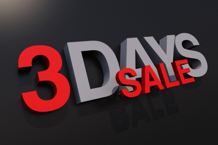three dimensions: Three Days Sale Promotion Illustration. 3D Render Graphic. Business Concepts Collection. Stock Photo