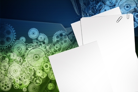 Mechanical Design Background. Blank Paper Sheets, Clips and Technology Mechanics Background.