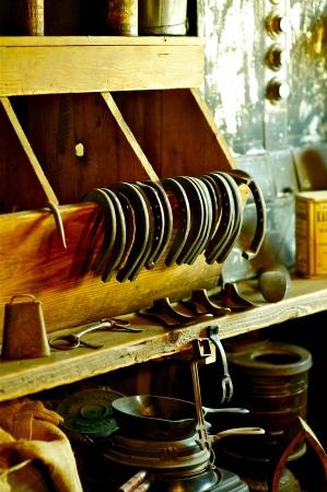 blacksmith shop: Old Blacksmith Shop - Horseshoes and Blacksmith Tools