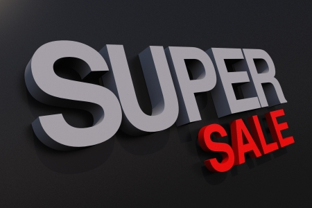wording: Super Sale Letters 3D Slogan. Business 3D Elements Collection Stock Photo