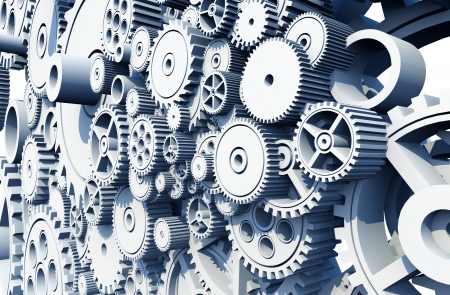 Gears and Cog Wheels 3D Render Illustration. Mechanical Abstraction Collection.