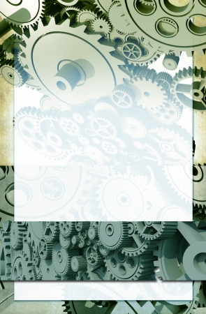Gear Background with Copy Space. Abstract Mechanical Engineering Vertical Background.