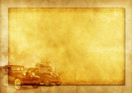 Transportation History Vintage Background Illustration with Two Classic Cars. Stock Photo