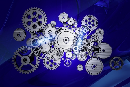 Abstract Gears Machinery on Dark Blue Abstract Background. Stock Photo