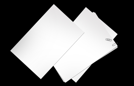 Blank Papers Isolated on Black. Office Objects Graphics Collection. Stock Photo