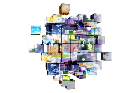 Abstract 3D Multimedia Cubes Isolated on White.