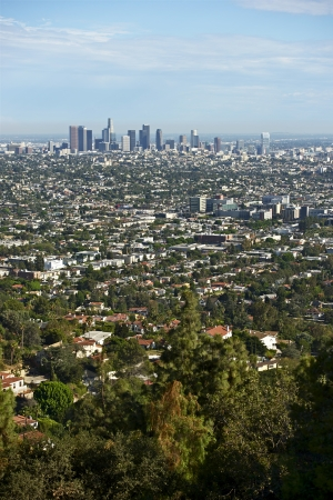 Los Angeles Panorama in Vertical Photography. American Cities Photo Collection. photo
