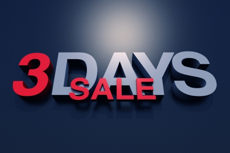 3 Days Sale 3D Illustration. Business and Marketing 3D Illustration Collection