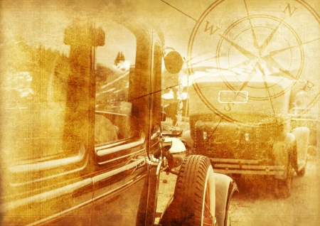 Oldtimers Background - Classic Cars Vintage Background. History of Transportation Collection. Stock Photo