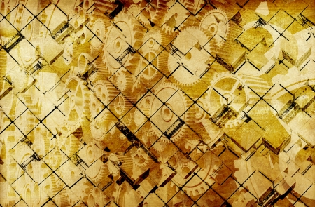 Golden Vintage Cubes Abstract Background. photo