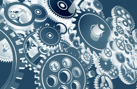 mechanical engineering: Cool Blue Gears Design. Technology Gears Background Design.