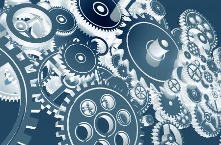 works: Cool Blue Gears Design. Technology Gears Background Design.