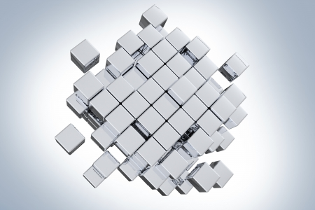Silver Cubes Concept. Abstract 3D Design Zdjęcie Seryjne