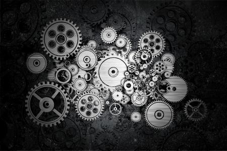 gear motion: Grunge Cog Wheels and Gears Dark Background Design.
