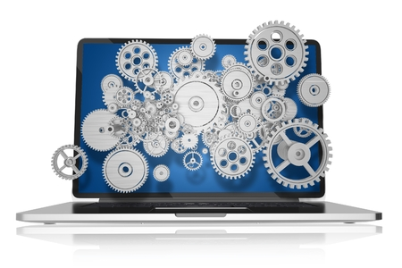웹 기술 개념 그림입니다. 기계적 요소, 기어 및 톱니 바퀴와 현대 노트북 컴퓨터. 화이트 절연 노트북 그림입니다. 기술 컬렉션. 스톡 콘텐츠