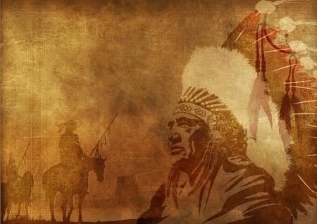 indigenas americanos: Native American Culture fondo. Jefe del nativo americano, Worriors en los caballos y Dreamcatcher. Foto de archivo
