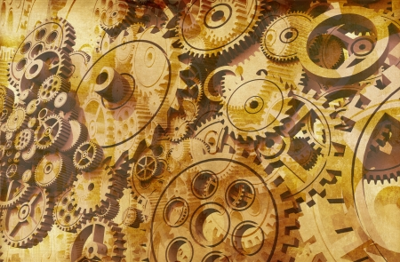 Abstract Vintage Gears Background Design. Cool 3D Grunge Gears Background. Stock Photo