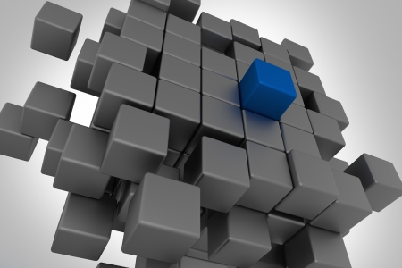 Leadership Cubes Concept  3D Cubes Illustration  Blue Leader Cube Concept  Abstract Business Collection
