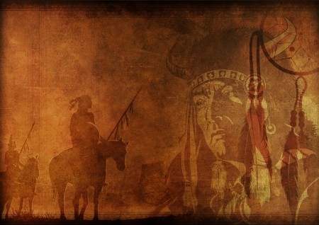 american history: Native America - Vintage Looking Background with Native American Shaman and Warriors Illustration