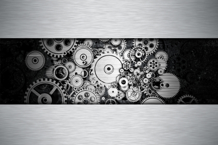 Iron Gears Metal Background with Copy Space  Abstract Gears Background 3D illustration  Stock Photo