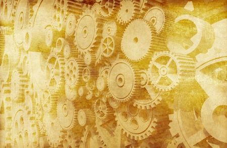 Gears Backdrop  Vintage Gears and Cogwheels Background Design  Cool Aged Colors   photo
