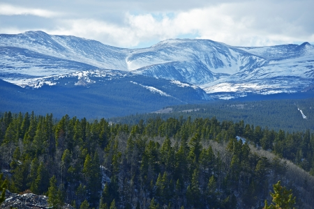 fairplay: Snowy Peaks of Rocky Mountains. Mountains Panorama in Colorado, USA. Mountains Photo Collection.