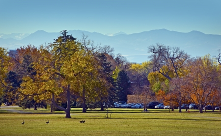 denver colorado: Fall in the City Park, Denver, Colorado, USA. Mountains Landscape in a Distance. Park Meadow.