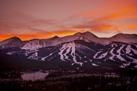colorado: Colorado Sunset. Breckenridge Ski Slopes at Sunset. Colorado Mountains Landscape. Stock Photo