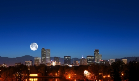 denver skyline: Denver Skyline with Moon. Downtown Denver and Rocky Mountains. American Cities Photo Collection.