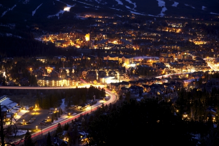 overnight: Town of Breckenridge at Night - Mountain Town Closeup. City Lighting.  Stock Photo