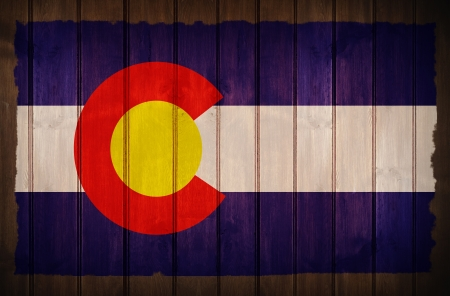 Colorado Flag on Wood - Colorado Flag Old Wood Background photo
