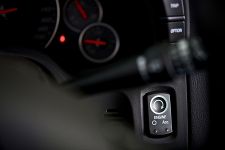ignition: Car Ignition Button in a Modern GT Car. Transportation Photo Collection.