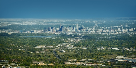 skyline of denver: City of Denver Panoramic View on East. Denver, Wheat Ridge, Arvada, Applewood and Lakewood Colorado. American Cities Photo Collection.