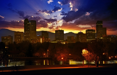 denver skyline: Denver Skyline at Sunset. Colorful Beautiful Sunset in Denver Colorado, United States. Downtown Denver. Colorado Photo Collection. Stock Photo