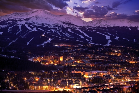 colorado: Breckenridge Winter Sunset. The Town of Breckenridge Was Formally Created in November 1859. Colorado Photo Collection. Stock Photo