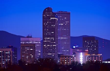 denver parks: Downtown Denver City Skyline at Night. Denver, Colorado, USA.