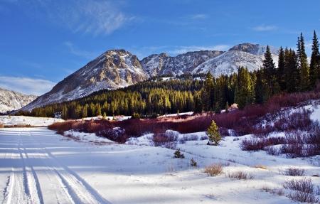 colorado rocky mountains: Colorado Scenery. Scenic Colorado Mountains in Early Winter and Snowy Road.  Fremont Pass, Colorado. Mt Arkansas, Mt Buckskin and Mt Democrat. Colorado Photo Collection.
