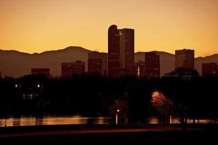 denver skyline with mountains: Denver Architecture. Downtown Denver at Sunset. Denver City Park. Colorado Photo Collection.