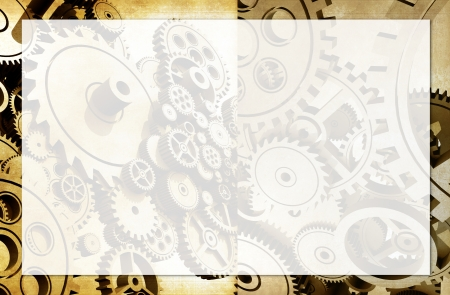 Machinery Background with Light-Up Copy Space. Gear Cog Wheels Design. Stock Photo