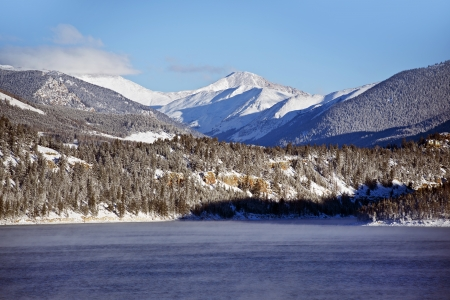 lake dillon: Dillon Reservoir and Mountains in Cold Winter Day. Colorado Winter Landscape. Stock Photo