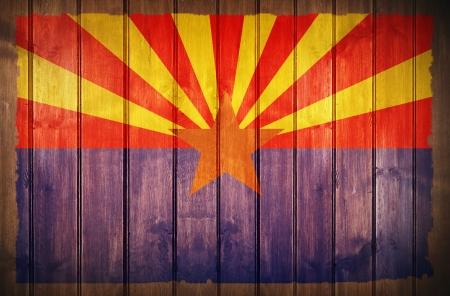 arizona: Arizona Flag Wood Background. Arizona State Flag Painted on Wooden Wall.