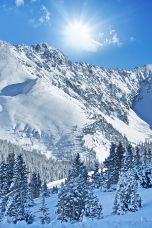 Winter Alpine Landscape. Colorado Rocky Mountains Under the Snow. Beautiful Sunny Winter Day at Arapahoe Basin, Colorado, United States. Stock Photo
