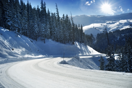 Snowy Mountain Road in Colorado, United States. Winter in Colorado.