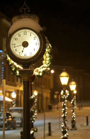 main street: Central City Clock. City of Central, Colorado, United States. Winter Night in Colorado. Holiday Decoration.
