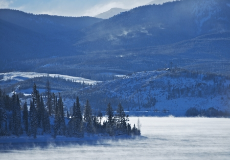 lake dillon: Colorado Winter. Dillon Reservoir Between Frisco, Dillon and Silverthorne, Colorado United States. Colorado Scenery Stock Photo