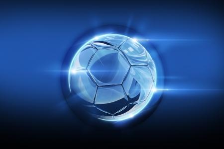 Magic Glassy Soccer Ball Abstract Illustration. Football Abstract Design.