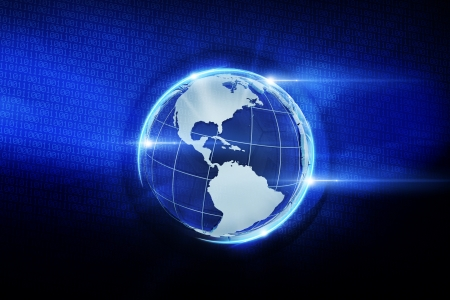 the americas: 3D Globe Illustration and Digital Data Background. Abstract Technology Illustration.