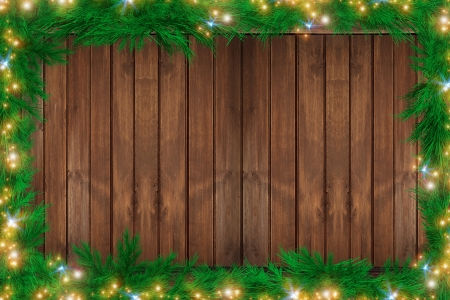 christmas illuminations: Wood Christmas Backdrop. Holiday Ornaments and Copyspace on Wooden Background.