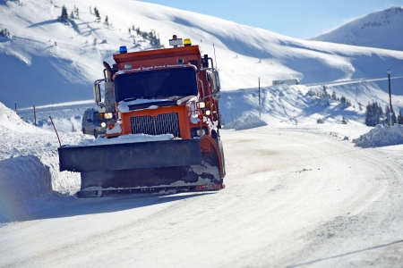 Snowplow Clearing Loveland Pass Road, Colorado United States.  photo